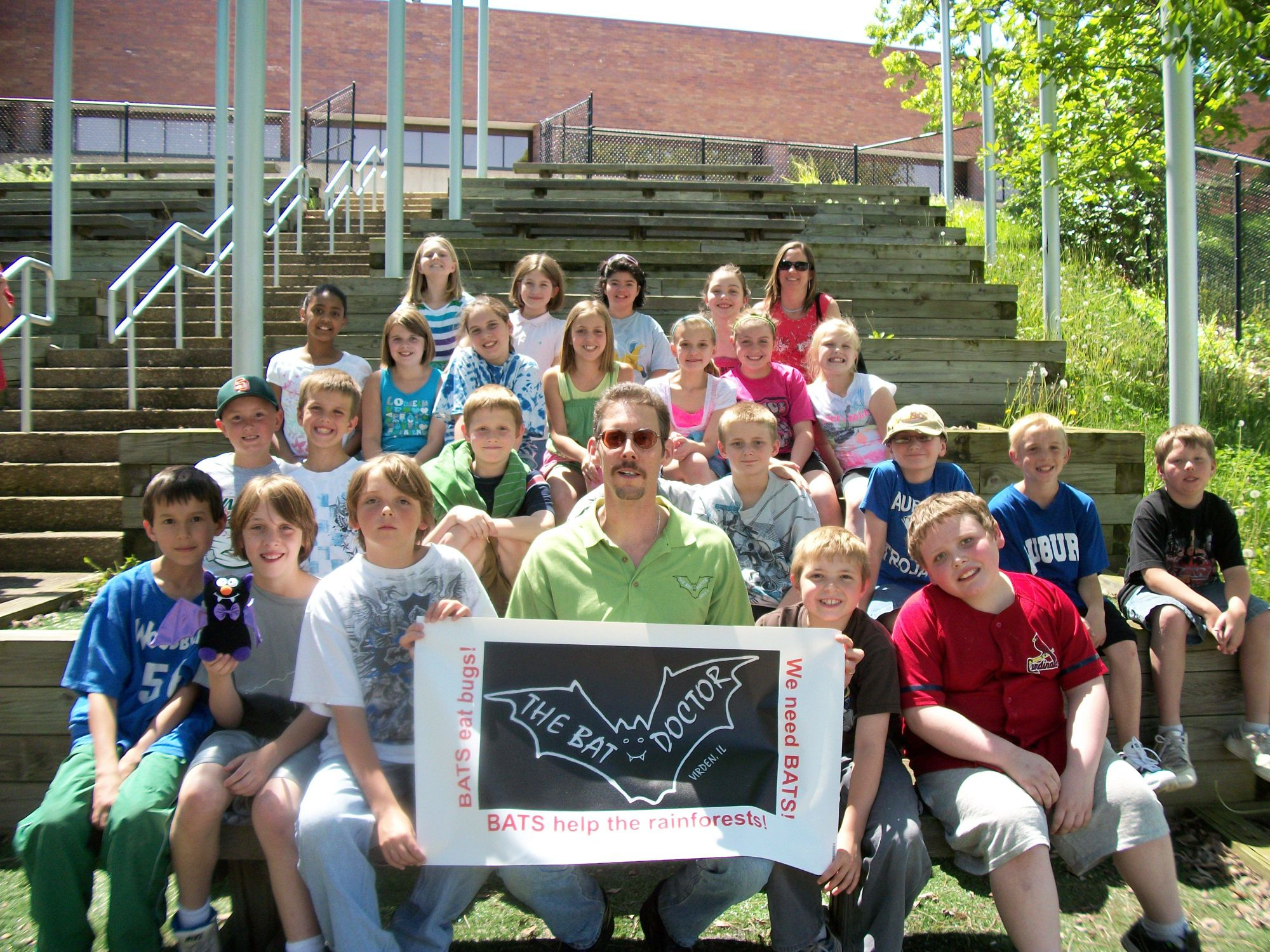 Dr. Austin with Auburn Elementary students at the 2010 IL EPA's Earth Stewardship Day following a 'Bats of Illinois' program.