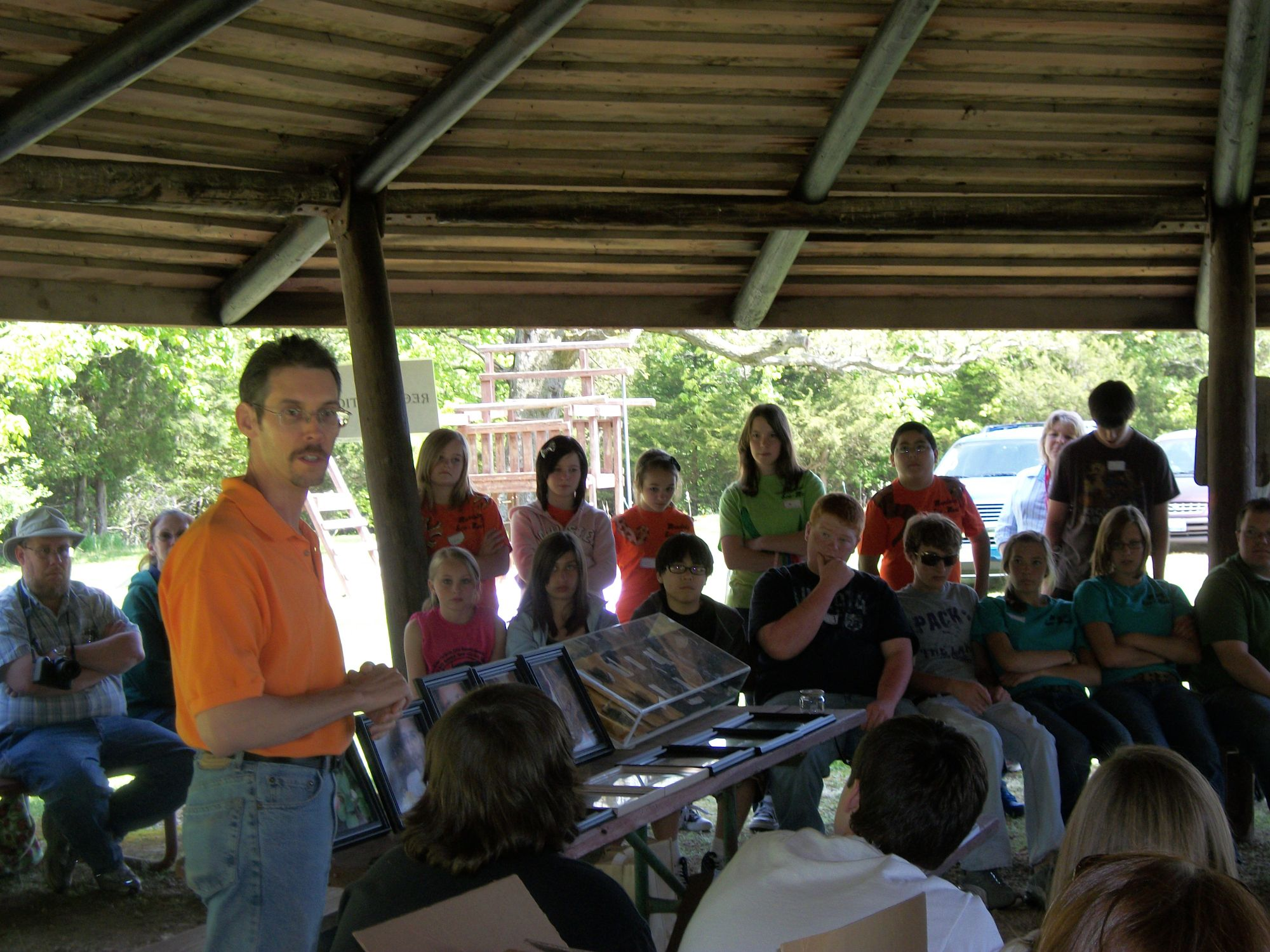 Dr. Austin giving a bat presentation at the LaSalle County Eco Meet 2010.