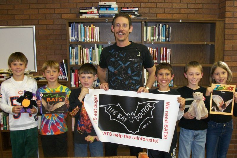 Dr. Austin with North Mac Girard Elementary students, following a bat Powerpoint program